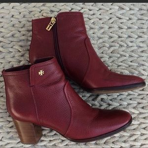 Tory Burch Ankle Boots Booties Sz 9.5 Dark Red Tex